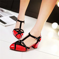 Sweet Casual Sweet Girls Woman Med Thick Heel Plus Size 35-43 Summer T Strap PU Heeled Shoes Black Red White Pumps 2016 Heels