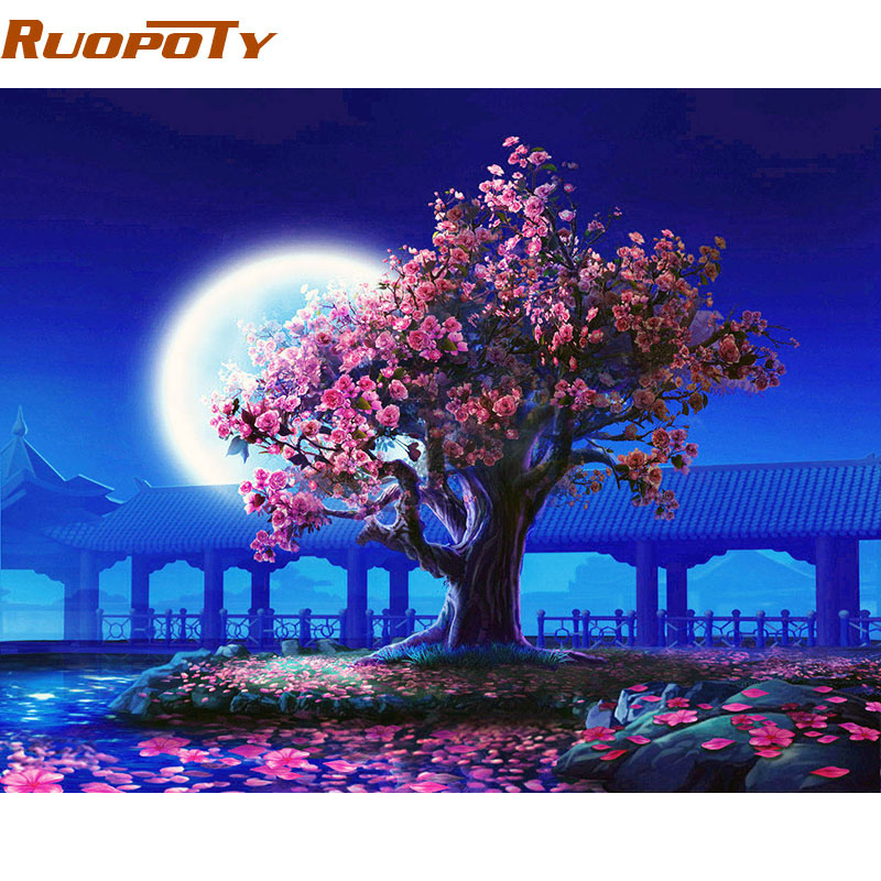 RUOPOTY Romantisk Moon Night Landskap DIY Maleri Med Numbers Kits Moderne Vegg Kunst Bilde Håndmalte For Home Decor 40x50cm