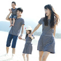 Casual Family Matching Outfits Mother and Daughter striped Dress Father and Son short sleeve T-shirt Clothes Summer beach style
