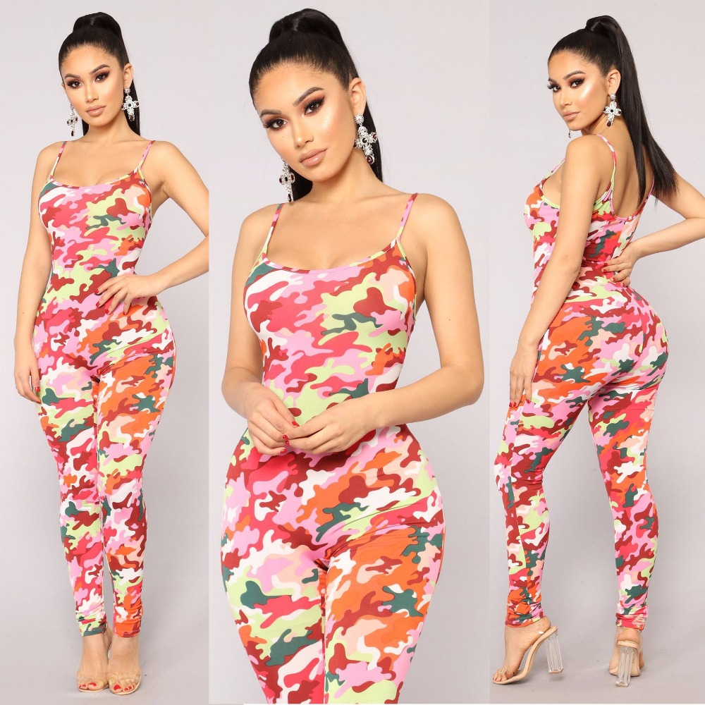 High Quality   Jumpsuits   For Women Summer 2019 Casual Skinny   Jumpsuit   Sleeveless Sexy   Jumpsuit   Off Shoulder Pink Women Clothing