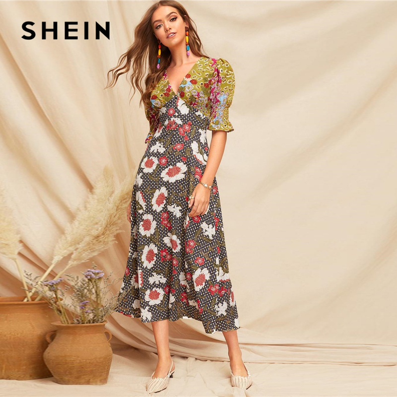 Image 3 - SHEIN Boho Multicolor Shirred Cuff Mixed Print Fit and Flare  Summer Long Dress Women Deep V Neck Puff Sleeve A Line Sexy  DressesDresses