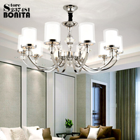 Simple pendant lights for high ceiling Crystal Candle Pendant lighting modern Europe Iron Glass hanging lamp ceiling metal
