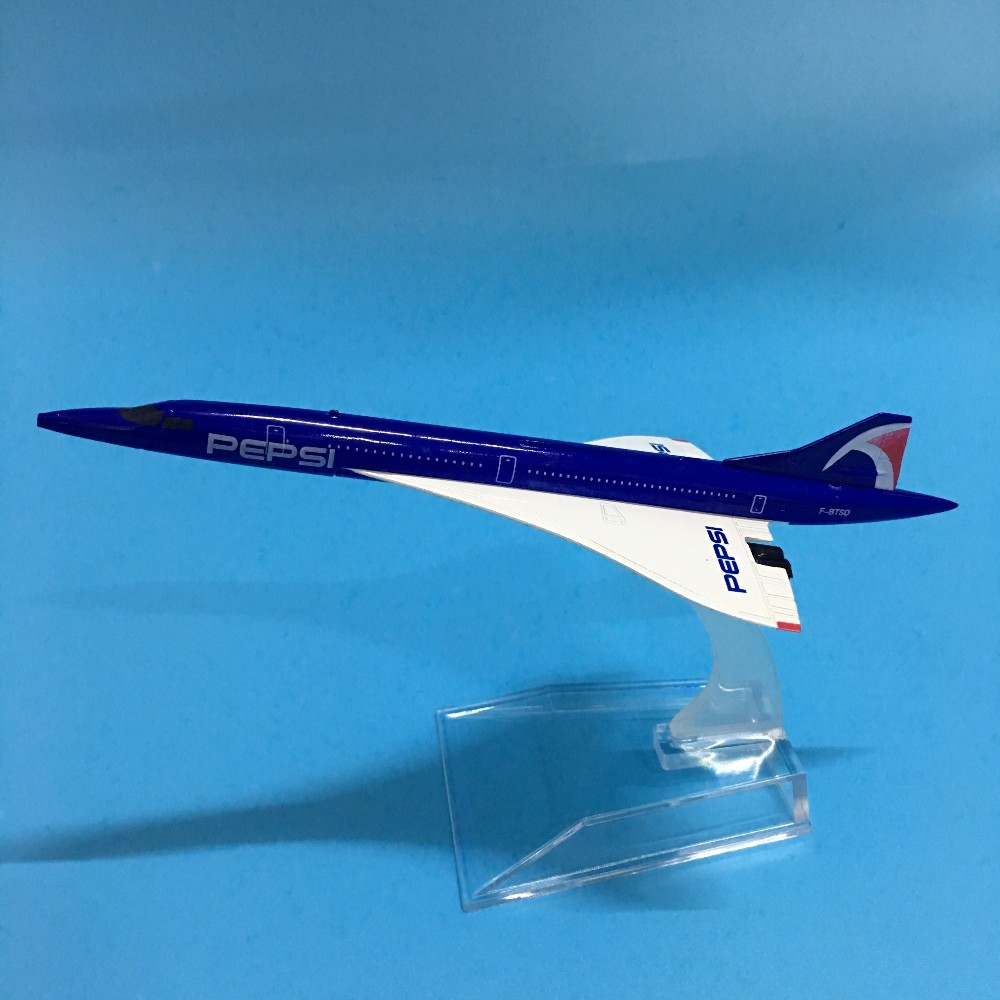 JASON TUTU 16cm Plane Model Airplane Model Pepsi Concord Airlines Aircraft Model 1:400 Diecast Metal Airplanes Plane Toys image