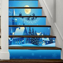 6pcs/set Waterproof PVC Christmas Stair Stickers