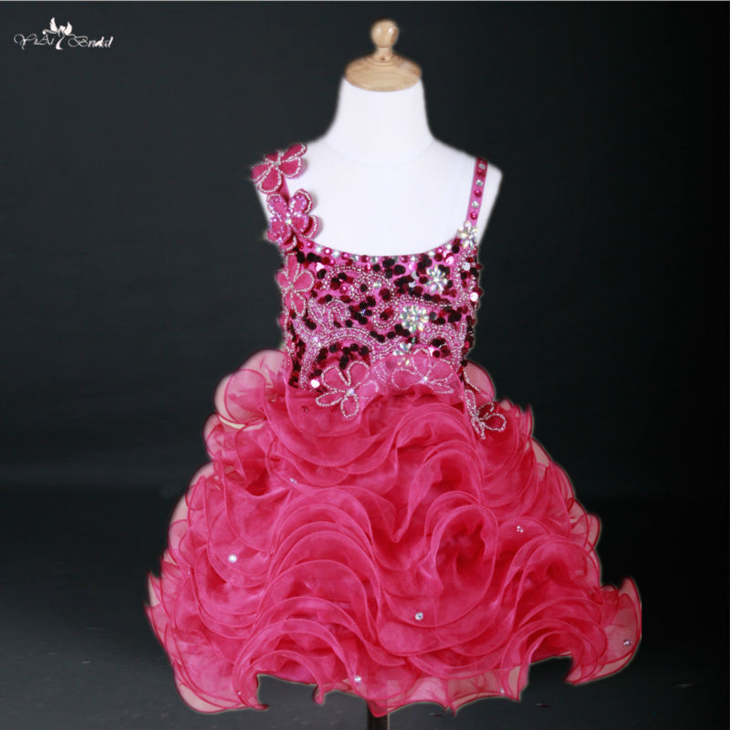 Fg33 Bling Pink Kids Cocktail Dress Evening Gowns Pageant Dresses