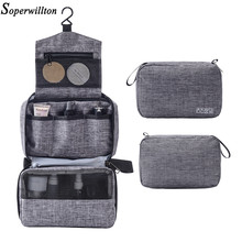 Soperwillton Hanging Travel Toiletry Bag for Men and Women Makeup Bag Cosmetic Bag Bathroom and Shower Organizer toilettas #9002(China)