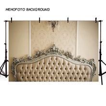 Thin Vinyl Photography Backdrops Newborn Baby Baroque Bed Headboard Tufted Bed Photo Background Photocall Background Photography(China)