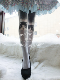 Princess sweet lolita pantyhose HARAJUKU soft amo lolita spank romper Cat black or white cats print pantyhose