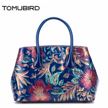 Original national wind leather ladies handbag 2017 spring of the new Chinese wind hand bag woman