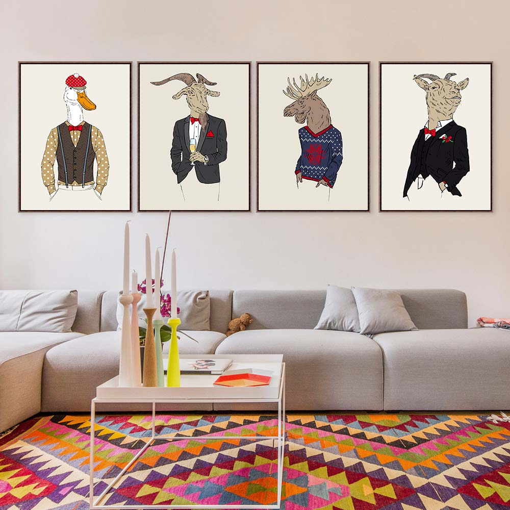ihomemall Fashion Animal goat dark cute kids Decoration A4 Large Art ...