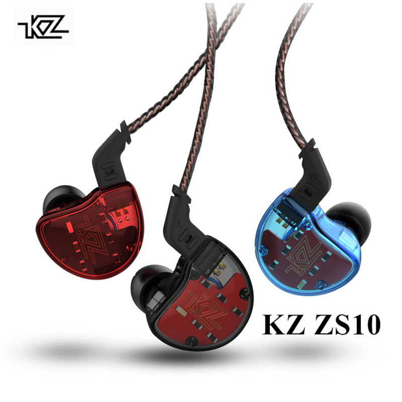 KZ ZS10 Earphone 4BA 1BA with 1DD Dynamic Hybrid In Ear Earphones Sport KZ Bluetooth Earphones 5 Drive 1BA KZ ES4 kz