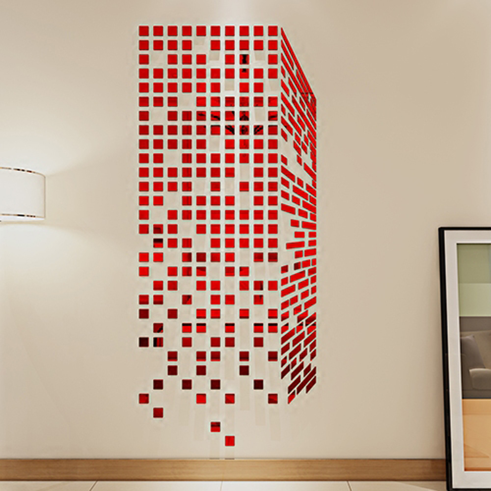 Diy mosaic little squares 3d acrylic mirror wall sticker for 3d acrylic mirror wall sticker clock decoration decor
