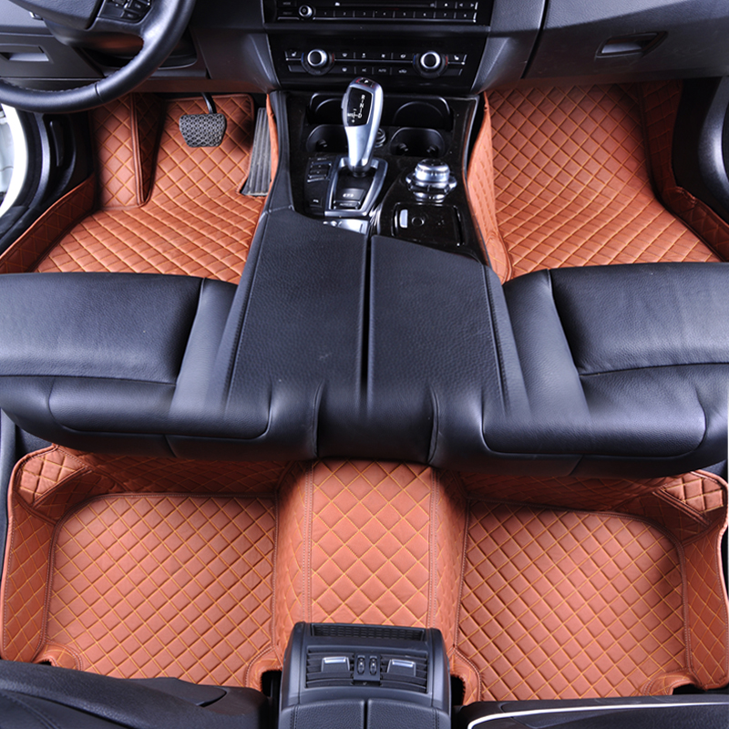 Custom fit luxury floor mats PU Leather foot mats colorful foot carpets floor carpet universal exact fit for all car models Audi цена