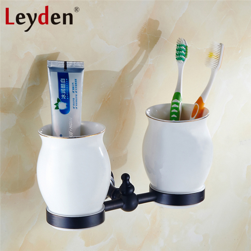 Leyden ORB Classical Oil Rubbed Bronze Brass Black Wall Mounted Double Cup& Tumbler Holder Toothbrush Holder Bathroom Accessory