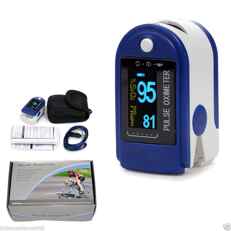 Free rubber case CONTEC pulse Oximeter CMS50D Dark blue Free shipping Manufacture CE&FDA