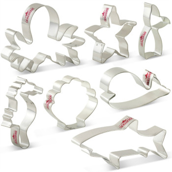 KENIAO Ocean Creature Mermaid Cookie Cutters Set - 7 Piece - Biscuit / Fondant / Pastry / Bread Cutter - Stainless Steel