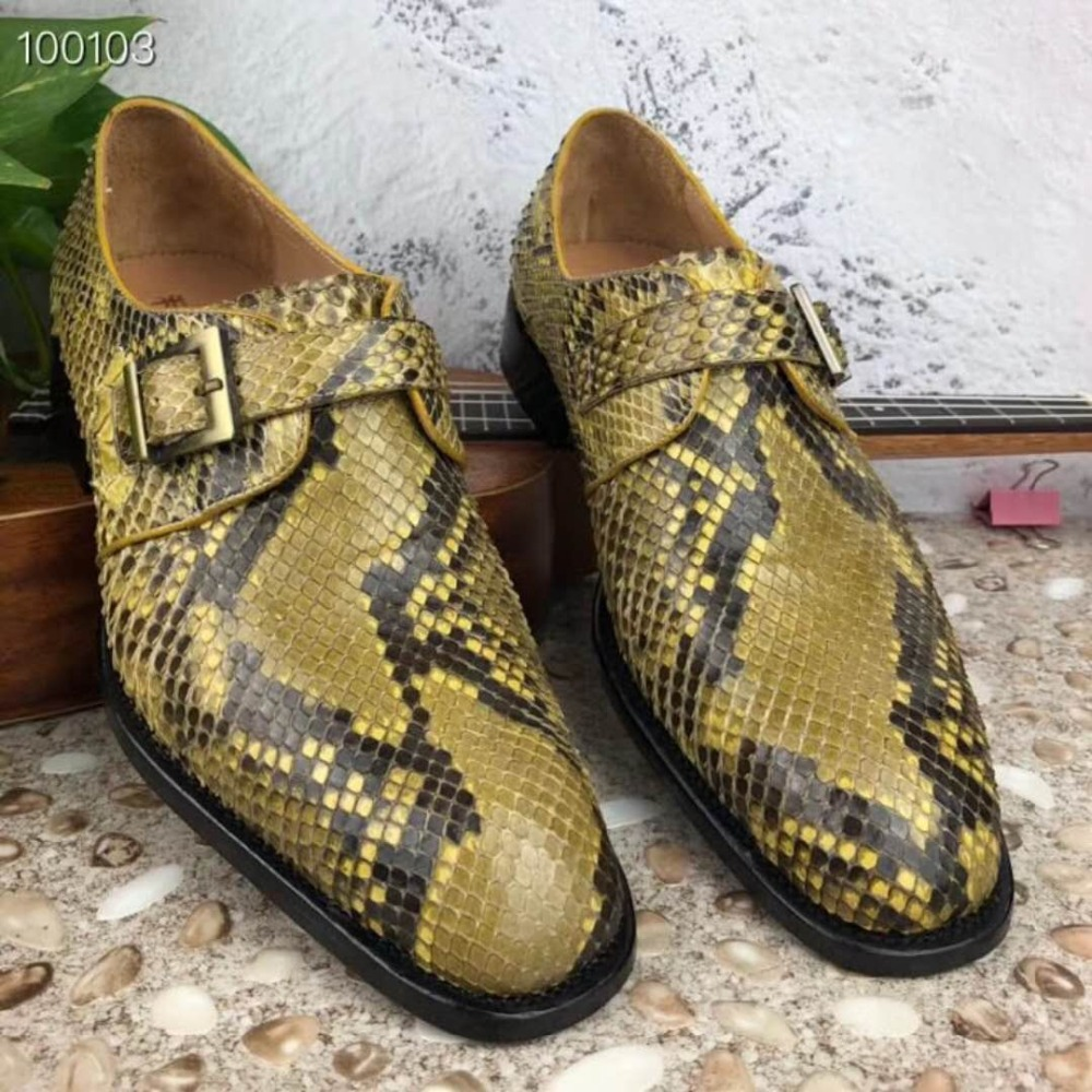 Men's Shoes 100% Genuine Real Genuine Python Skin Dress Men Shoe Luxury Quality Yellow Gold Color With Cowhide Skin Lining Free Shipping