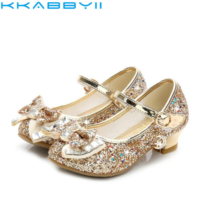 New Children Shoes Girls Princess Party Sandals For Girls Shoes Leather Dress Fashion Bow Sandal Size 26-37 Sweet Gift