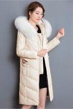 Elegant Long Genuine Leather Women Jacket Coat Fur Collar Hooded Warm Winter Slim Outwear Lamb Leather Zipper Plus Size MY0055