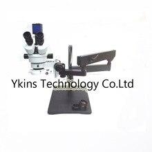 サイマル-焦点業界ステレオ三眼接眼レンズ顕微鏡ジンバルスイングフレックスアームビッグテーブルブラケットスタンド 3.5x-90x