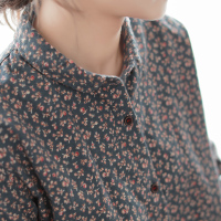Vintage broken flowers print peter pan collar cotton long sleeve shirt blouse women 2018 autumn winter