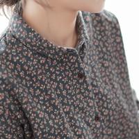 Vintage broken flowers print peter pan collar cotton long sleeve shirt blouse women 2018 autumn winter