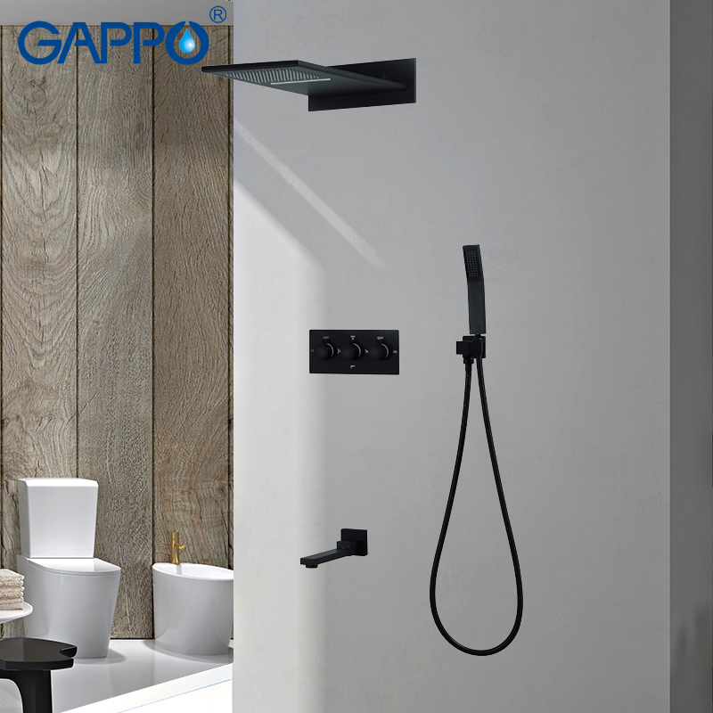 GAPPO Shower Faucets Concealed bathroom shower faucet wall mounted rainfall shower tap bath faucet waterfall bath tap