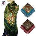 2016 Зимние большие шали Новая Мода женщины кисточкой Шарф Площади Цветочные Печатный Фирменное платки дамы женщины хлопок шарфы обертывания 120-4
