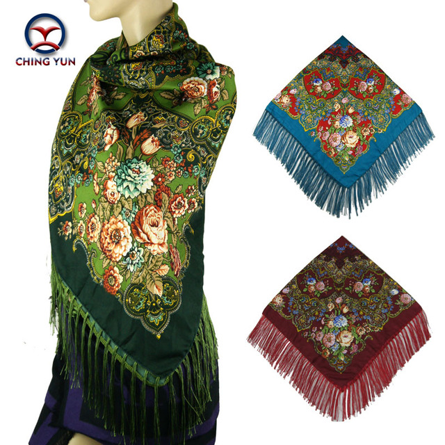 2016 Winter big shawls New Fashion women tassel Scarf Square Floral Printed Brand shawls ladies women cotton scarves wraps 120-4