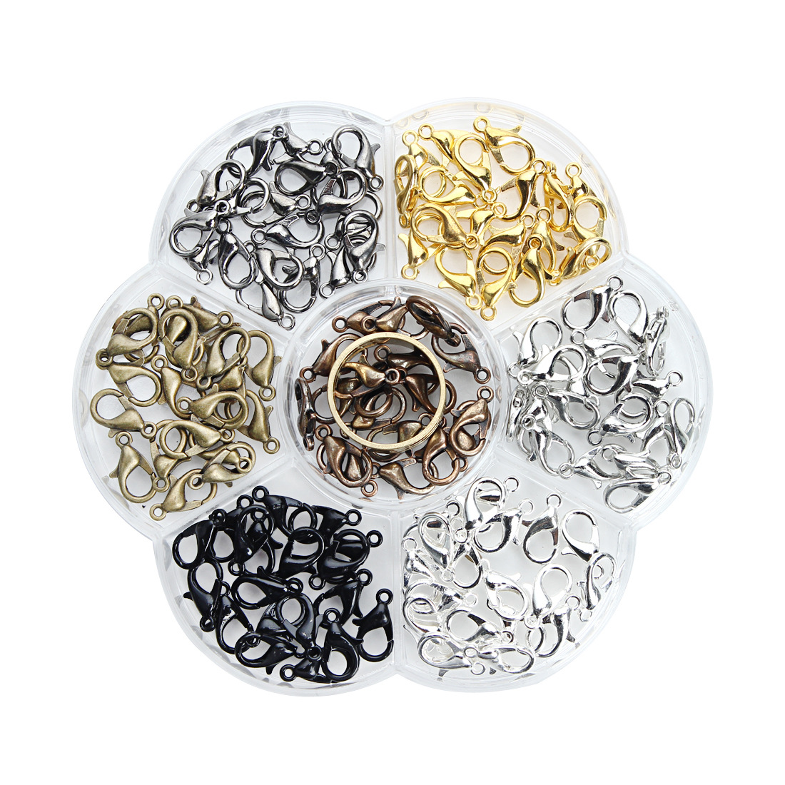 12x6mm 140PCs Zinc Alloy gold color Antique Bronze Silver Lobster Clasps mixed DIY Jewelry Findings Components with Box