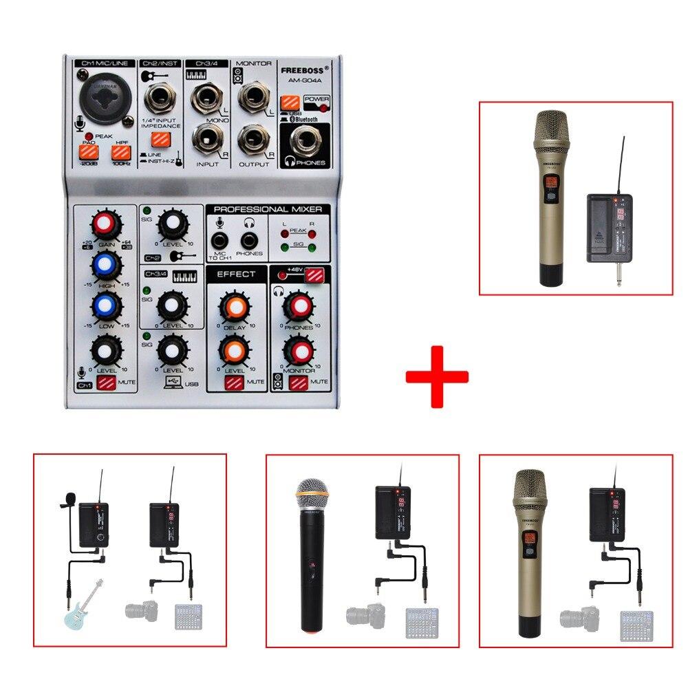 Freeboss AM-G04A Bluetooth Record Audio Mixer + PLL UHF Wireless Microphones dra818u uhf band ham radio wireless audio module dark blue silver
