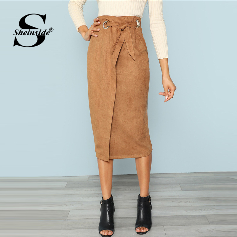 Sheinside Brown Tie Waist Bodycon Skirt 180720704