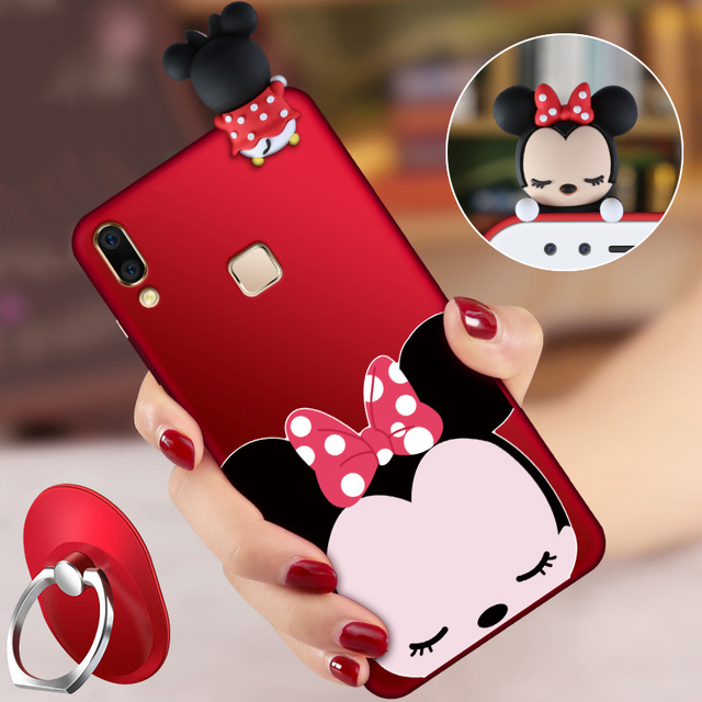 outlet store 8393e 1367a US $7.92 23% OFF|ALIVO For BBK VIVO V9 case with Lanyard Cartoon 3D cute  soft silicon full protector Fitted Case+Ring for vivo v9 6.3