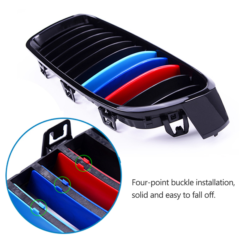 Image 2 - Atreus 3pcs 3D Car Front Grille Trim Strips Cover Motorsport Stickers For BMW F30 F10 3 5 Series M Power Performance Accessories-in Car Stickers from Automobiles & Motorcycles