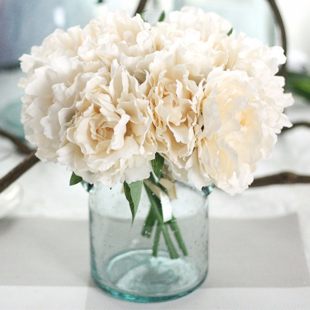 5 Heads Charming Special Peony Bridal Bouquet Artificial Flowers