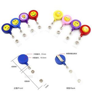 Image 5 - 30pcs/lot Smiling Face Retractable Pull Key ID Card Clip ID Badge Lanyard Name Tag Card Holder School Office Company Papelaria