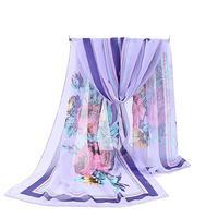 New Scarf Fashion Women Chiffon Silk Scarf Designer Brand Luxury Autumn Winter Cashmere Flower Print Scarves H25