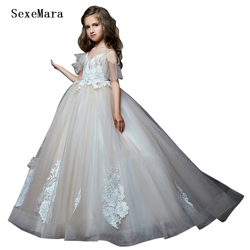 Fancy Little Girls Dresses A Line Lace Applique Puffy Tulle Robe Fille Mariage de soiree Girls Birthday Dress Pageant Gown