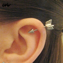 UVW012 2pc Punk Multi-Use Surgical Steel Arrow Design Spike Cartilage Earrings Stud for Women Men Tragus Body Piercing Jewelry недорго, оригинальная цена