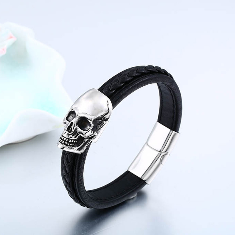 Bracelets For Men Titanium Steel Skull Leather Weave Bangles High Quality Comfortable Fashion Male Jewelry BC-L023