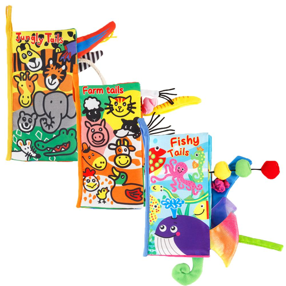 Baby Touch Stereo Cloth Book Woollen Cloth Animal Tails Newborn Early Childhood Educational Toys