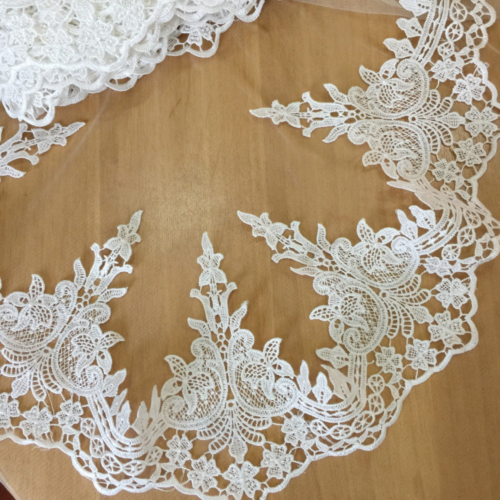 3 yards/lot Exquisite Off White Water Soluble Embroidery Lace Wedding Dress First Yarn DIY Clothing Accessories 17cm Wide