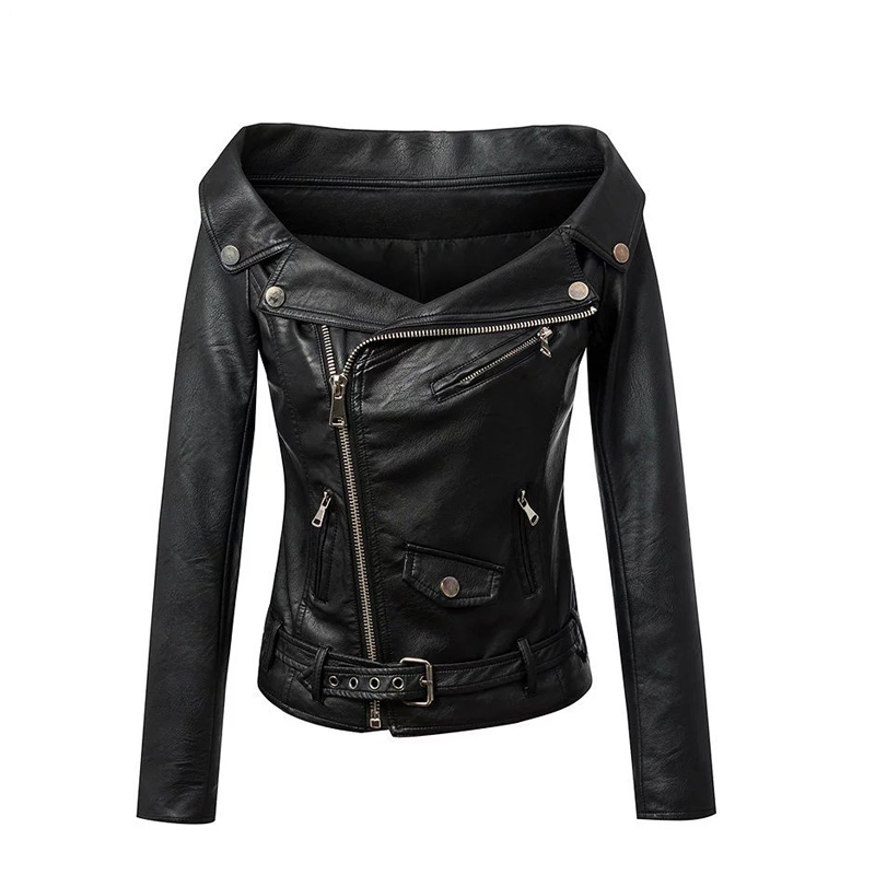 Woman Off shoulder faux leather   jacket   women motorcycle   jacket   2016 Spring autumn outerwear coats Short zipper   basic     jackets