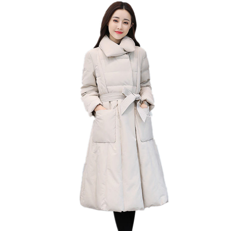 Winter Down Cotton Jacket Women   Parka   Slim Warm Padded Coat Elegant Casual Jacket Femme Streetwear Ladies Long Jacket Coat Q1027