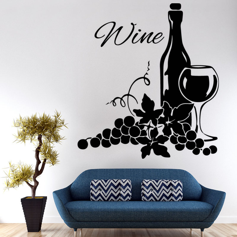 Two Clusters Of Grapes And Wine Bottle Wall Stickers Living Room Self Adhesive Vinyl Creative Home Decor