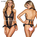 2017 sexy Teddy Lingerie Black Free Size Halter women underwear Naked buttocks Perspective Lingerie Deep v sexy costumes