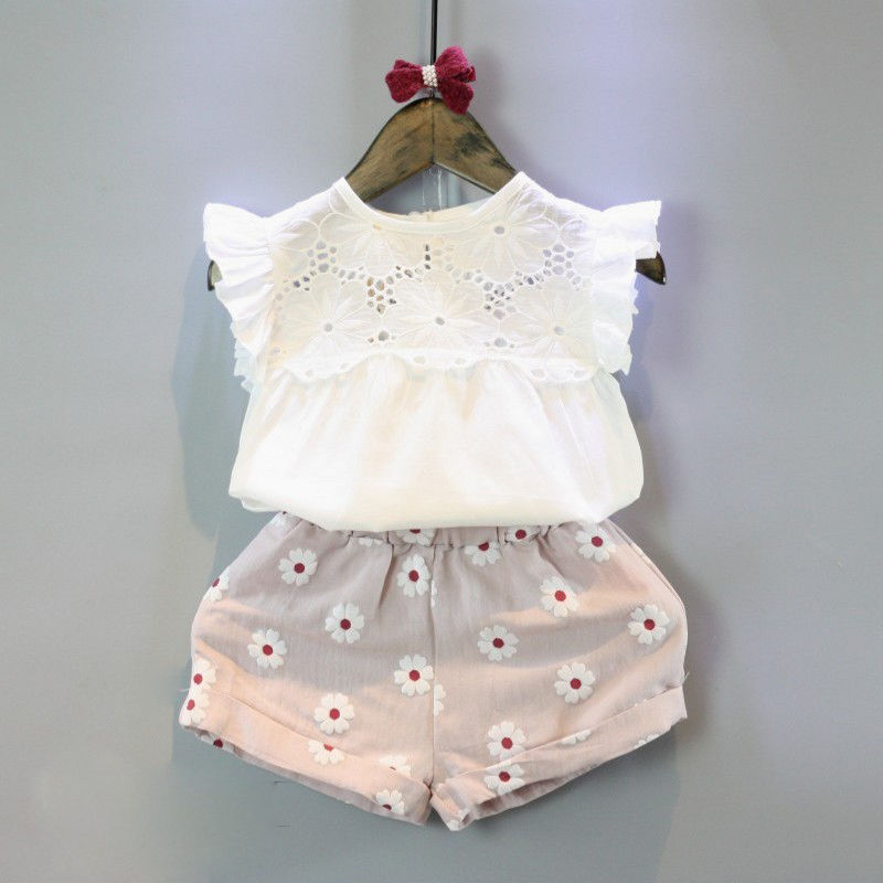 2pcs Kids Baby Girls Summer Outfits Lace Tops Floral Shorts Pants Clothes Sets Children Kid Girl