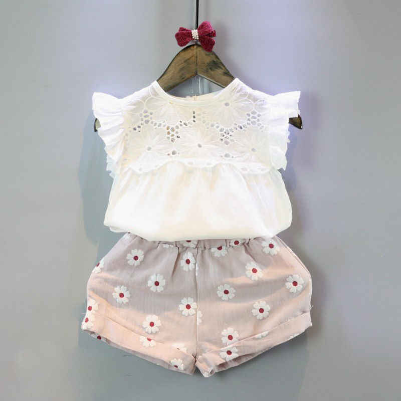 <b>2pcs Kids</b> Baby Girls <b>Summer</b> Outfits Lace Tops Floral Shorts Pants ...