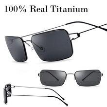 100% Real 13.9g Sólo Sin Montura de Titanio Gafas de Sol Hombres Mujeres Ultraligero sin Tornillo Con Caja de Sombra Sun Glasse Gafas De Sol Oculos
