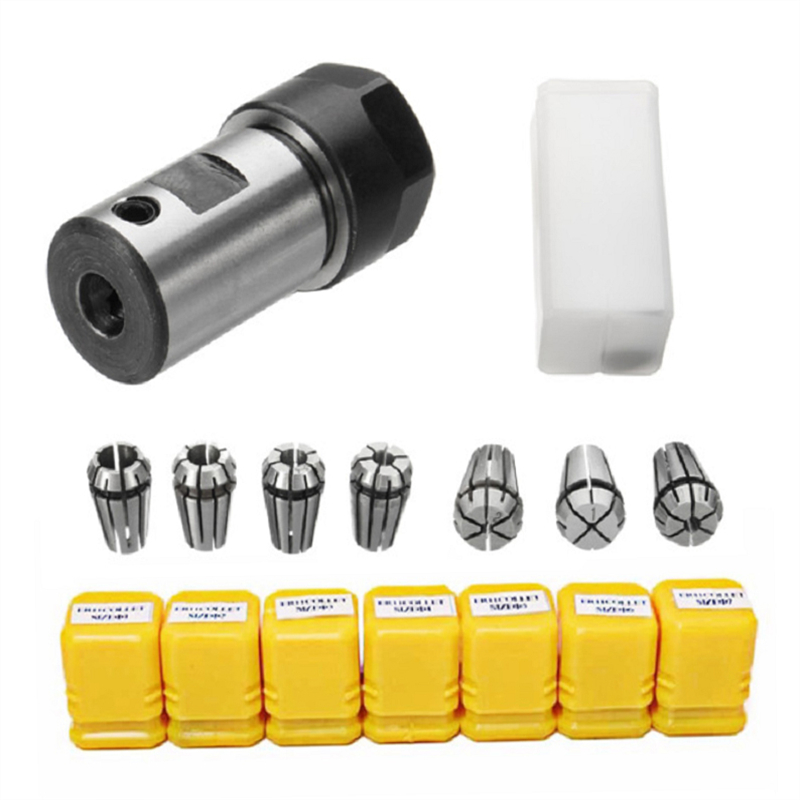7pcs High Carbon <font><b>Steel</b></font> ER11 Spring Collet 1/2/3/4/5/6/<font><b>7mm</b></font> with ER11A Extension <font><b>Rod</b></font> Motor Shaft HolderInner 5MM 6MM 6.35MM 8MM image